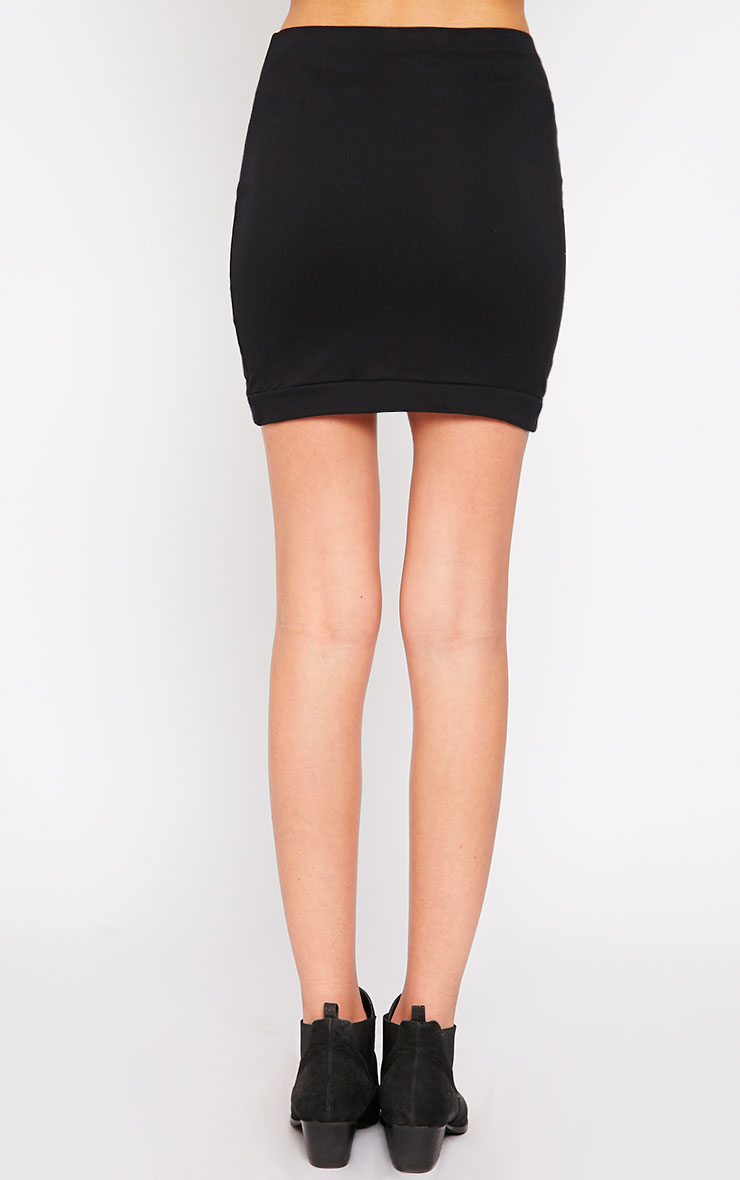 Phoenix Black Curved Hem Mini Skirt 4