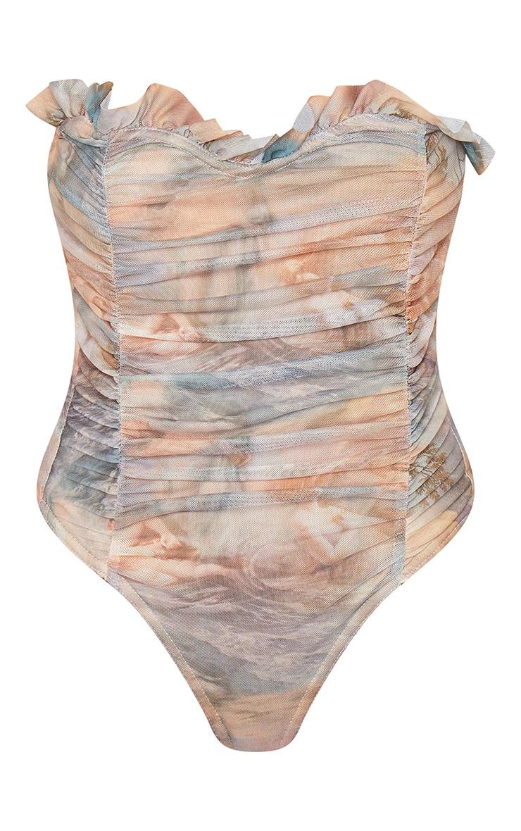 Multi Water Renaissance Printed Mesh Bandeau Bodysuit 5