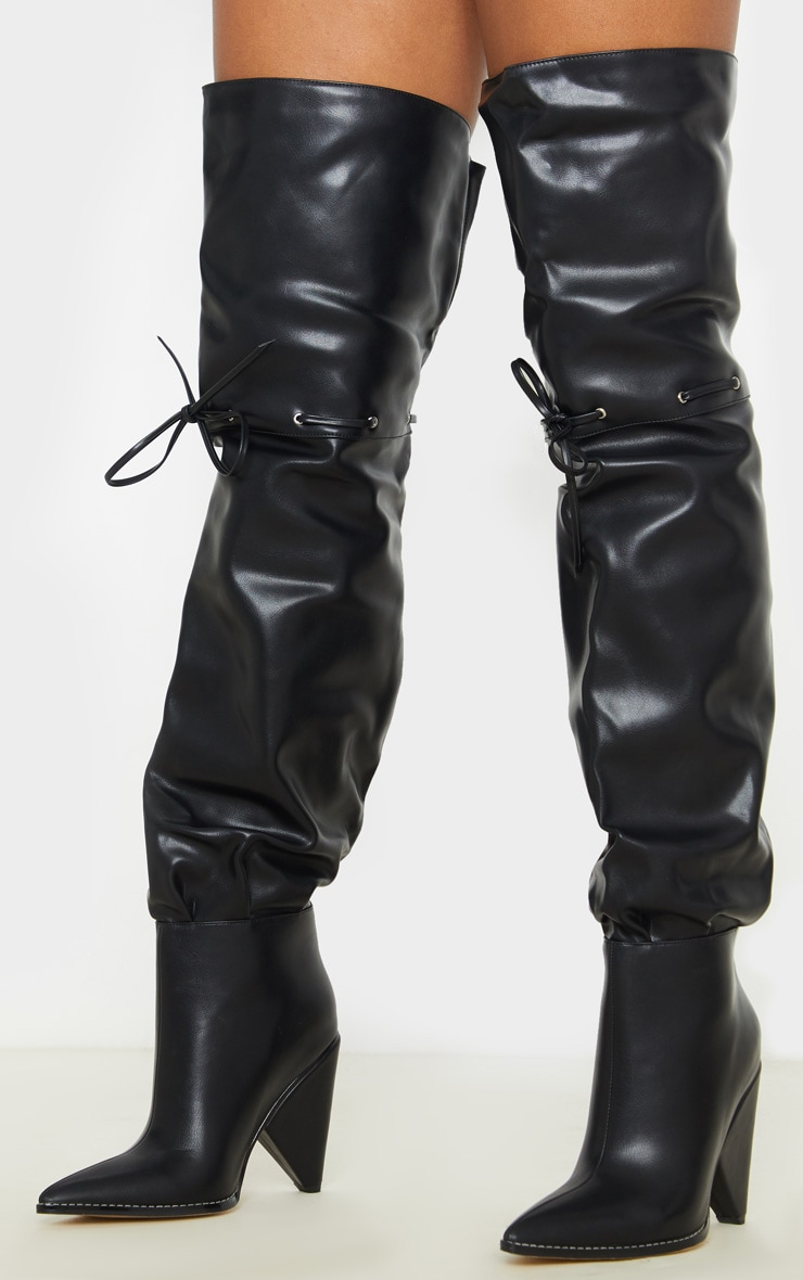 Black Cone Heel Thigh High Boot 1
