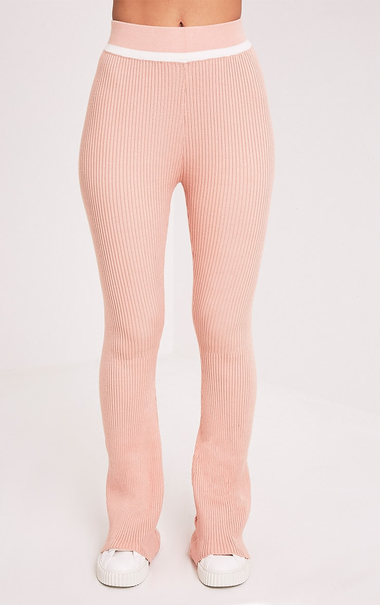 Sufiya Nude Colour Block Knit Ribbed Trousers 2