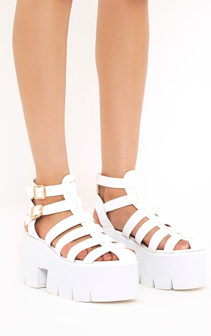 Jovana White Cleated Flatform Sandals 3