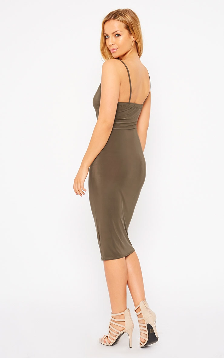 Harpe Khaki Slinky Midi Dress 3