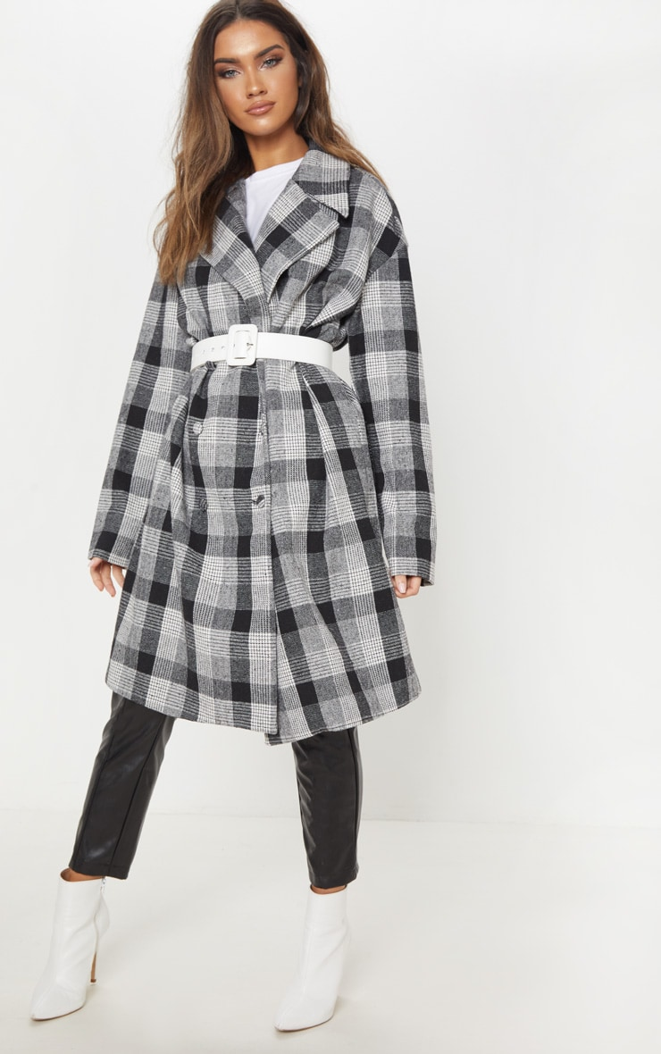 Grey Checked Oversized Coat  4