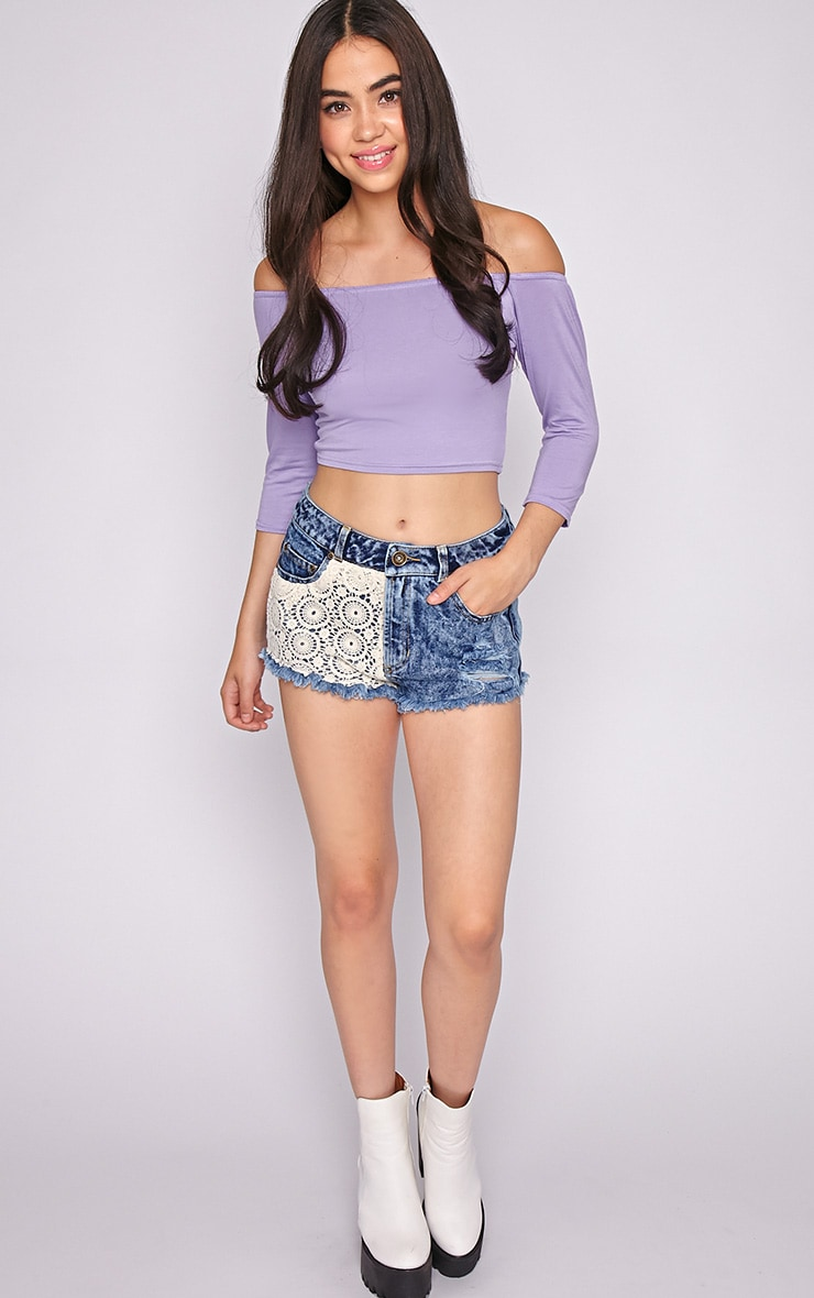 Joy Lilac Bardot Crop Top  3
