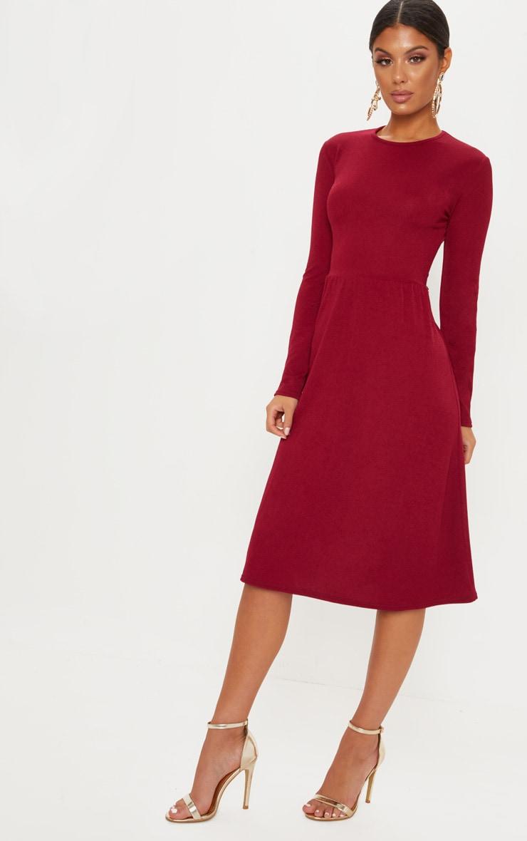e5c0446cb881 Burgundy Long Sleeve Skater Midi Dress image 1