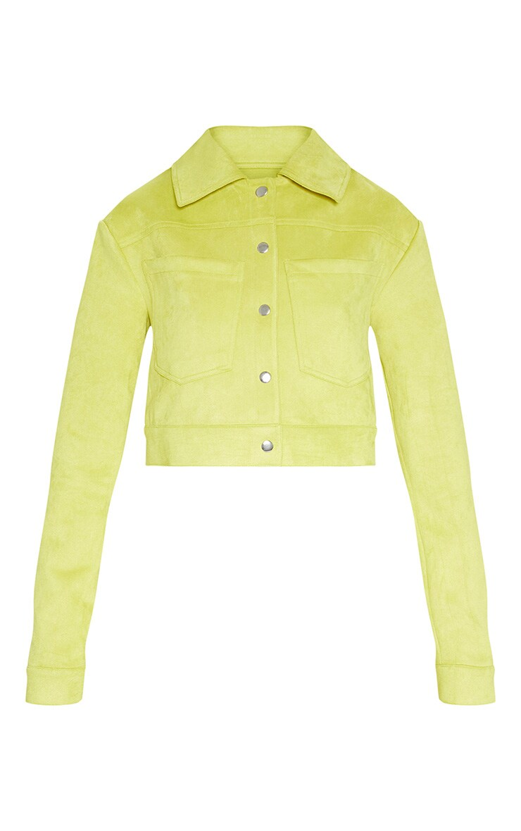 Lime Green Bonded Suede Crop Jacket 4