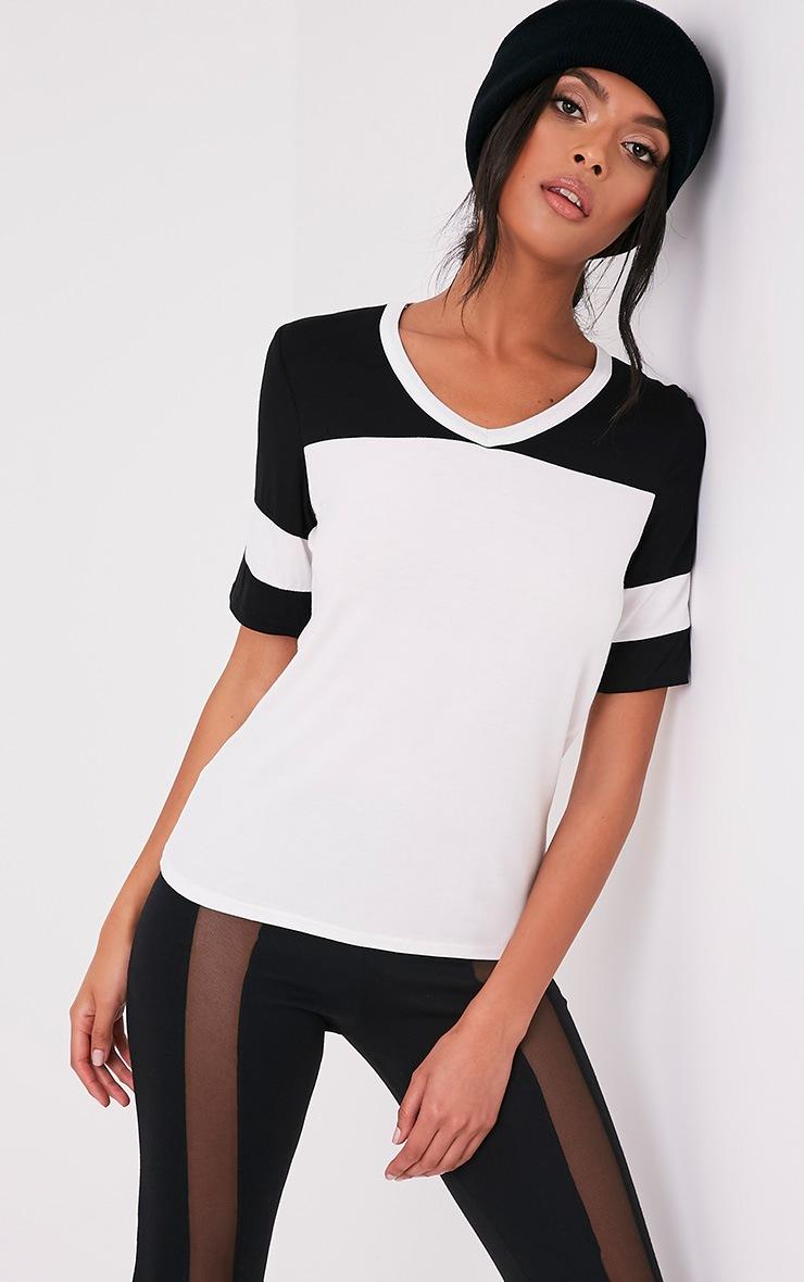 Melita Cream Colourblock V Neck Jersey T Shirt 2