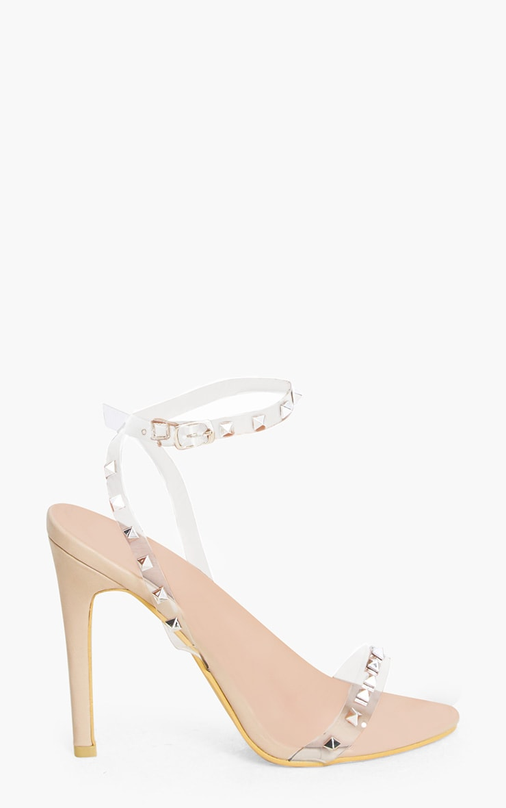 Nude Clear Strap Studded Strappy Heels 3