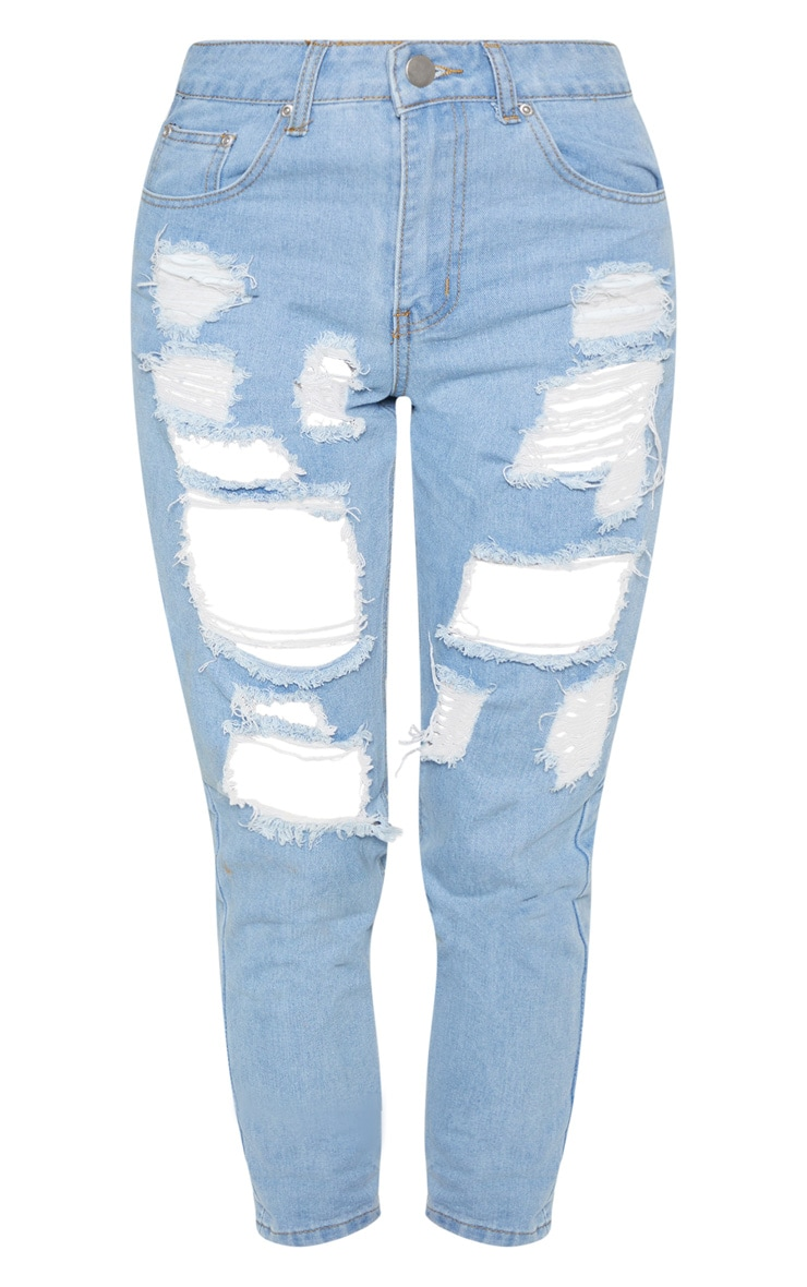 Light Wash Super Distress Mom Jean 4