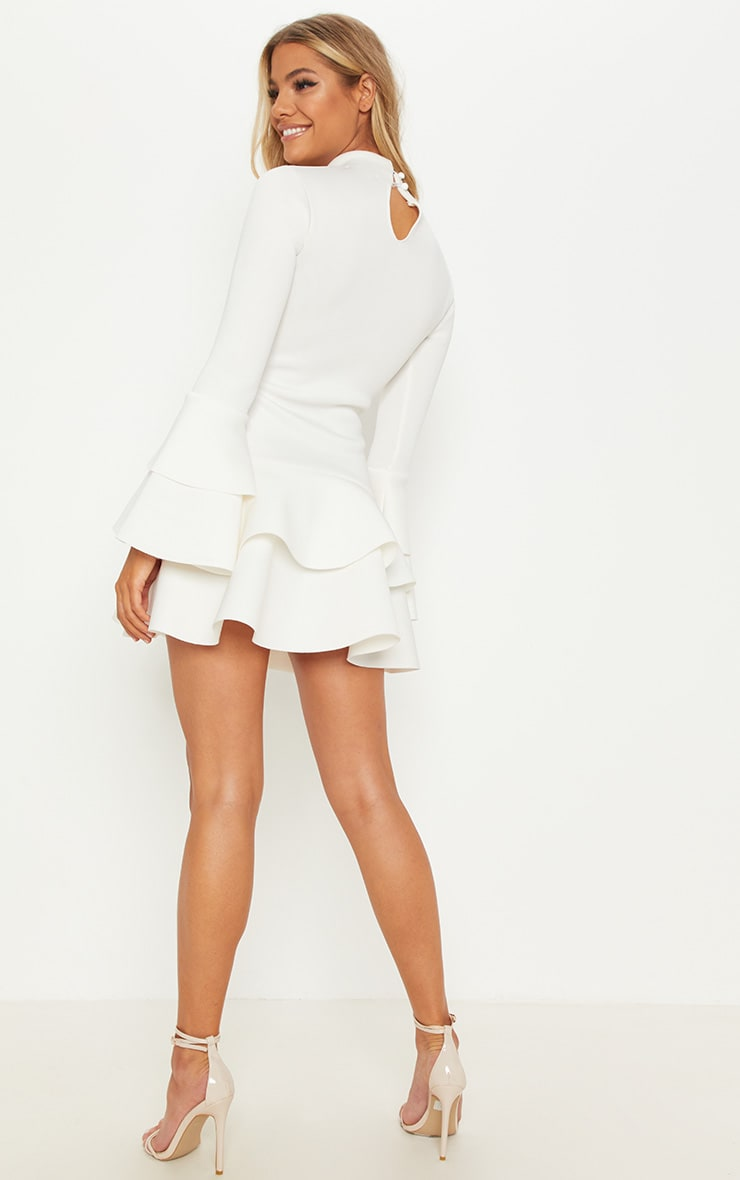 White Bonded Scuba Ruffle Sleeve Bodycon Dress 2