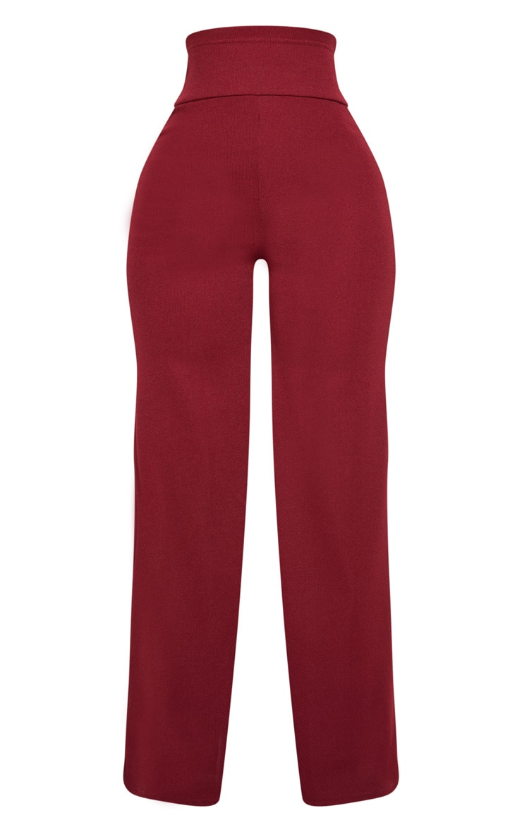Shape Burgundy Bandage Extreme High Waist Wide Leg Pants 3