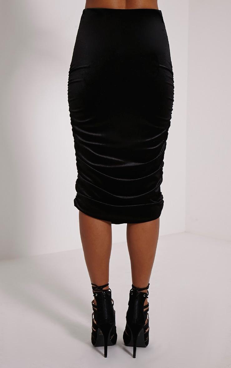 Marta Black Velvet Ruched Side Midi Skirt 4