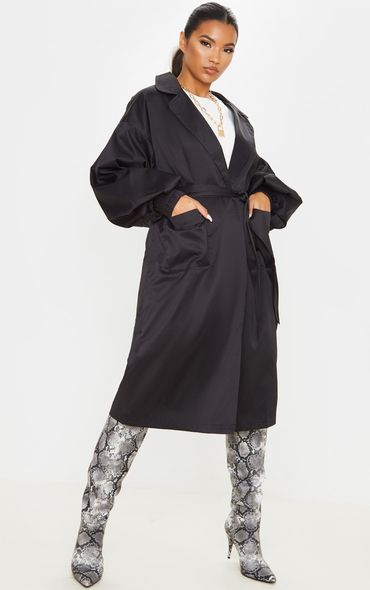 Black Balloon Sleeve Tie Waist Trench 1