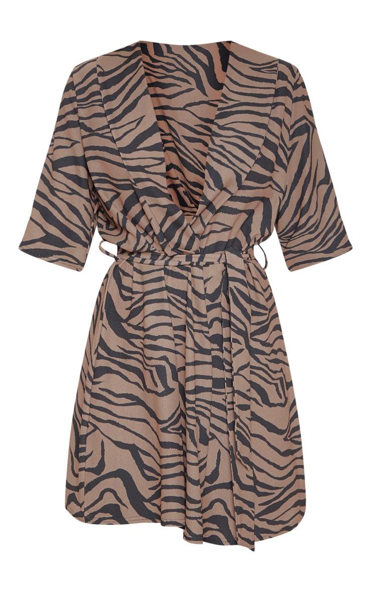 Beige Tiger Print Short Sleeve Tie Waist Tea Dress 3