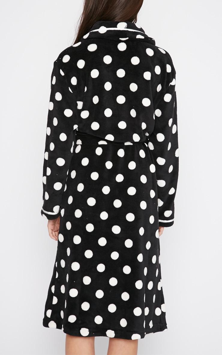 Farri Monochrome Spotty Fleece Dressing Gown  2