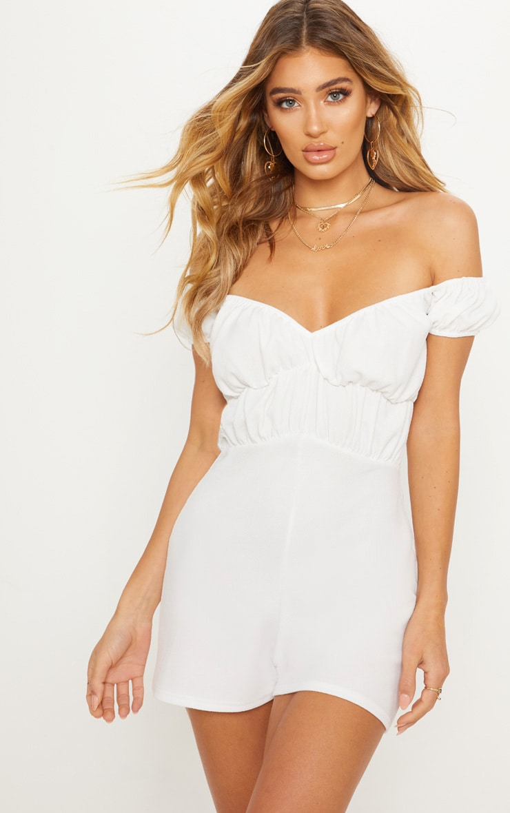 White Bardot Ruched Detail Playsuit 1