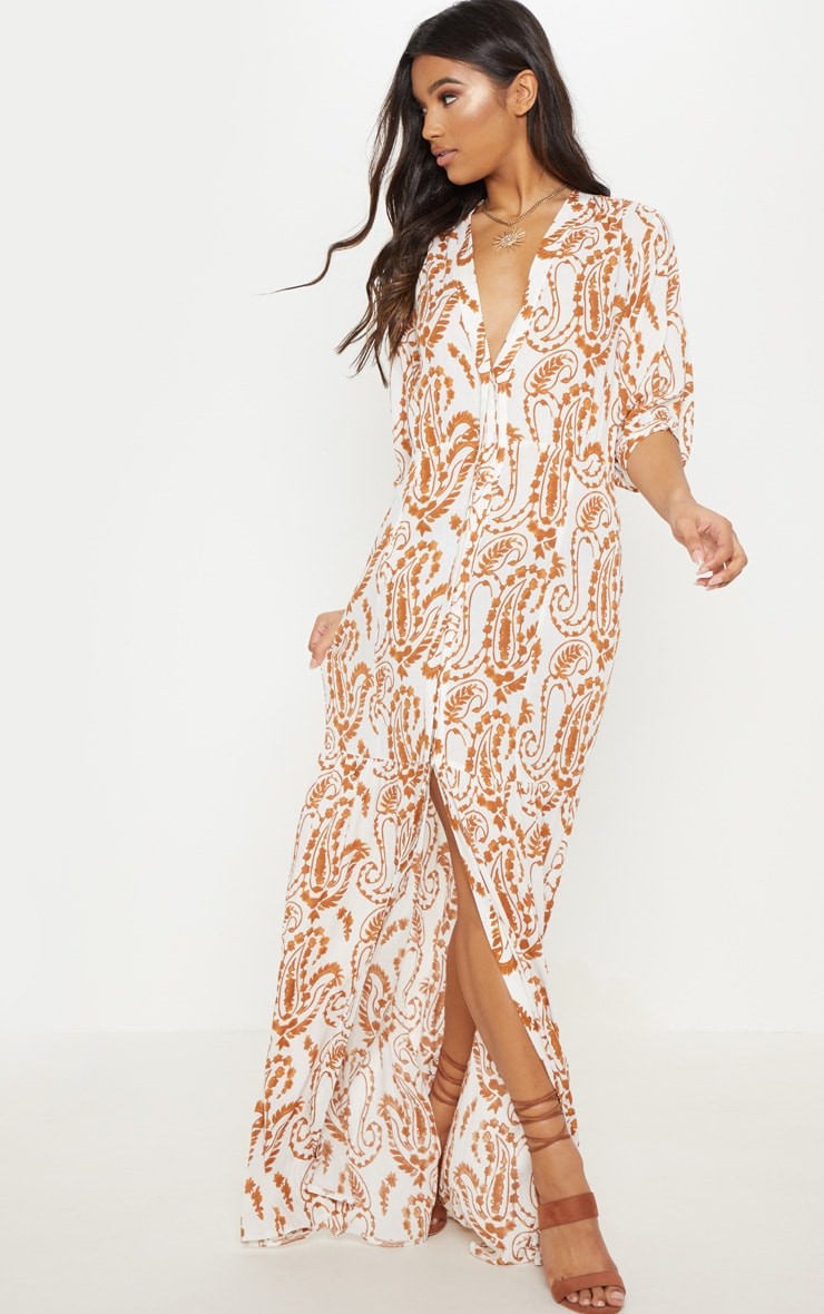 White Paisley Print Button Front Split Maxi Dress 1