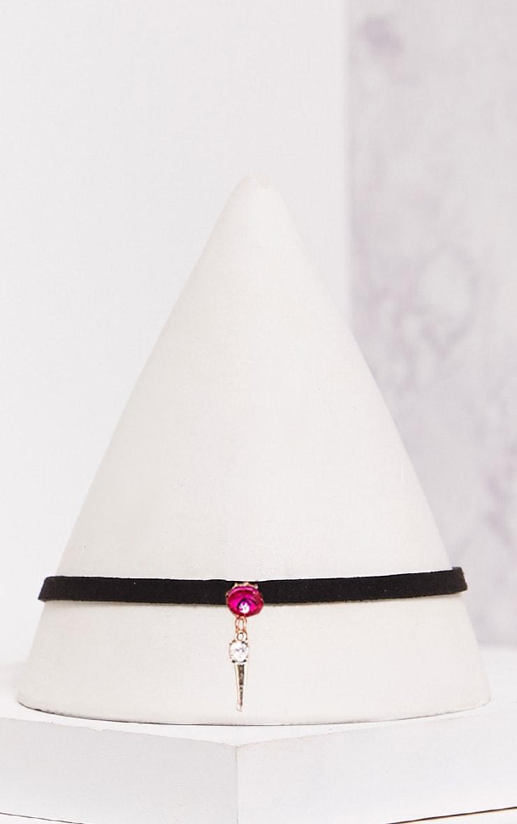 Alegra Black Velvet Pink Jewel Drop Choker 4