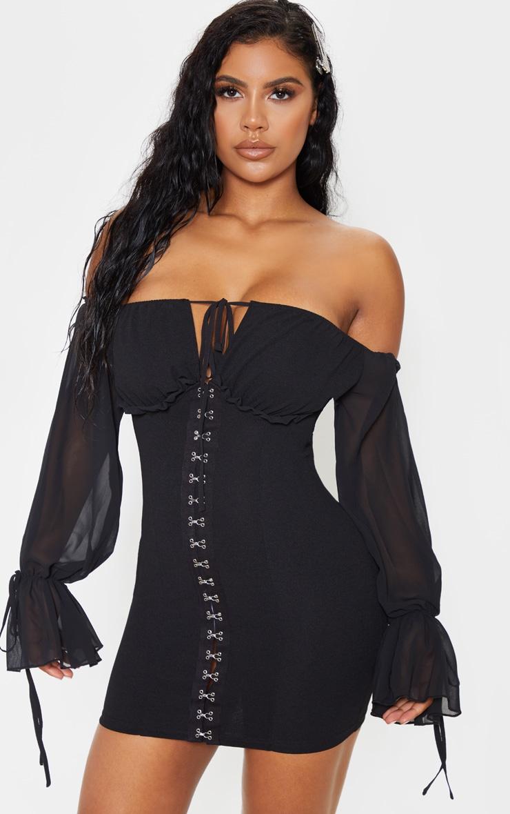 Black Chiffon Sleeve Hook & Eye Bodycon Dress 1