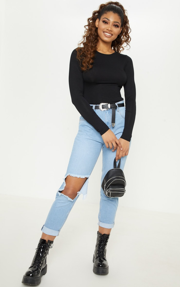 Tall Black Basic Long Sleeve Top 4