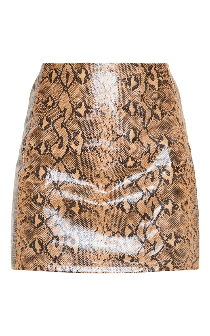 Stone Textured Faux Leather Snake A Line Skirt 6