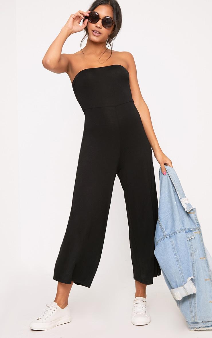 Black Culotte Bandeau Jumpsuit  1
