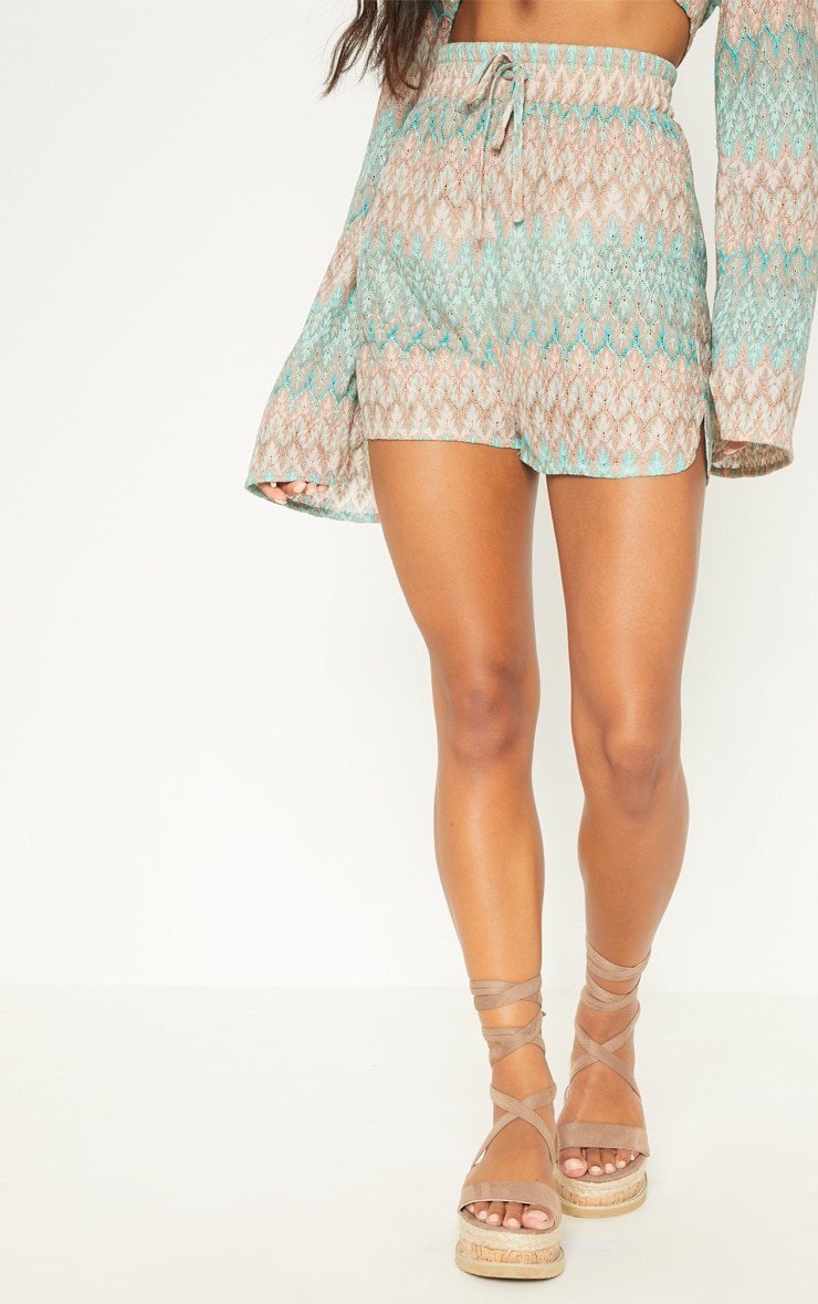 Mint Chevron Tie Waist Runner Shorts 3