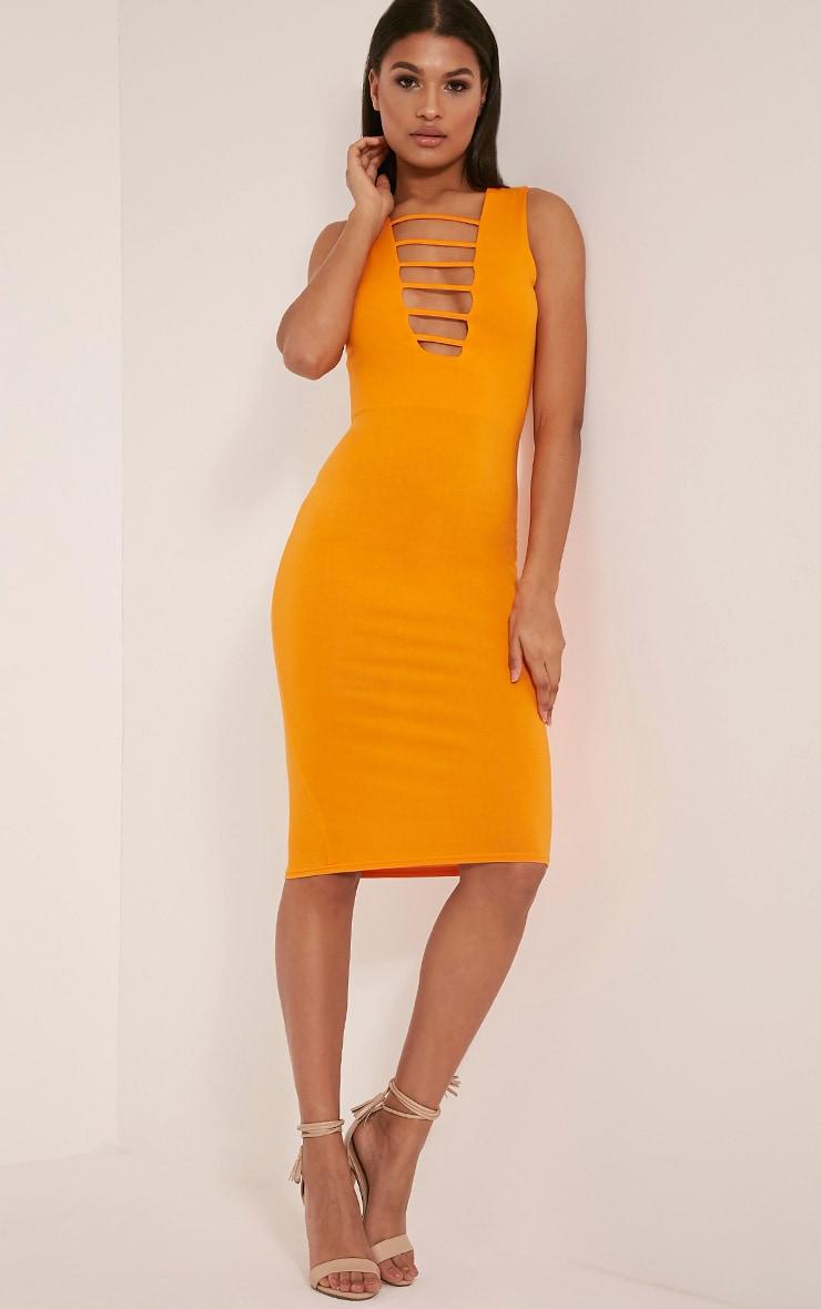 Breea Bright Orange Strap Front Midi Dress 5