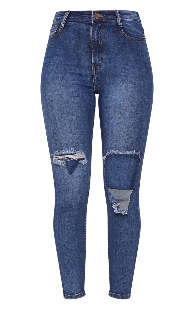 Mid Wash Folded Knee Rip 5 Pocket Skinny Jean 4