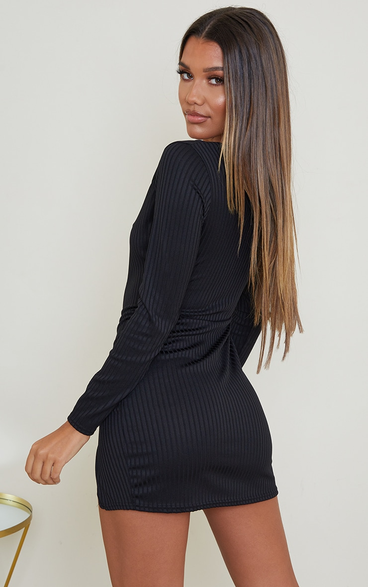 Black Ribbed Long Sleeve Split Hem Bodycon Dress 2