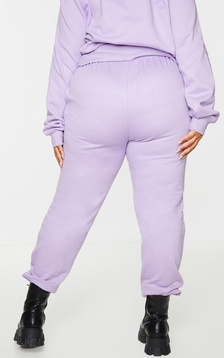 PRETTYLITTLETHING Plus Lilac Embroidered Joggers 3