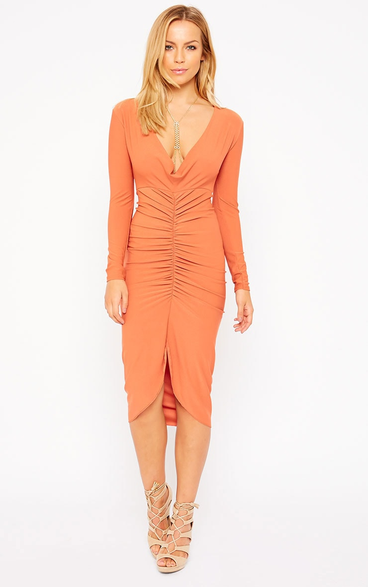 Zoey Rust Ruched Midi Dress 3