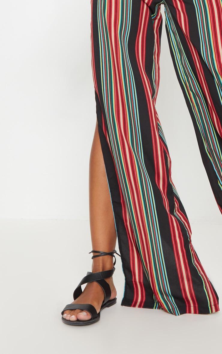 Black Multi Coloured Side Split Wide Leg Trouser 5