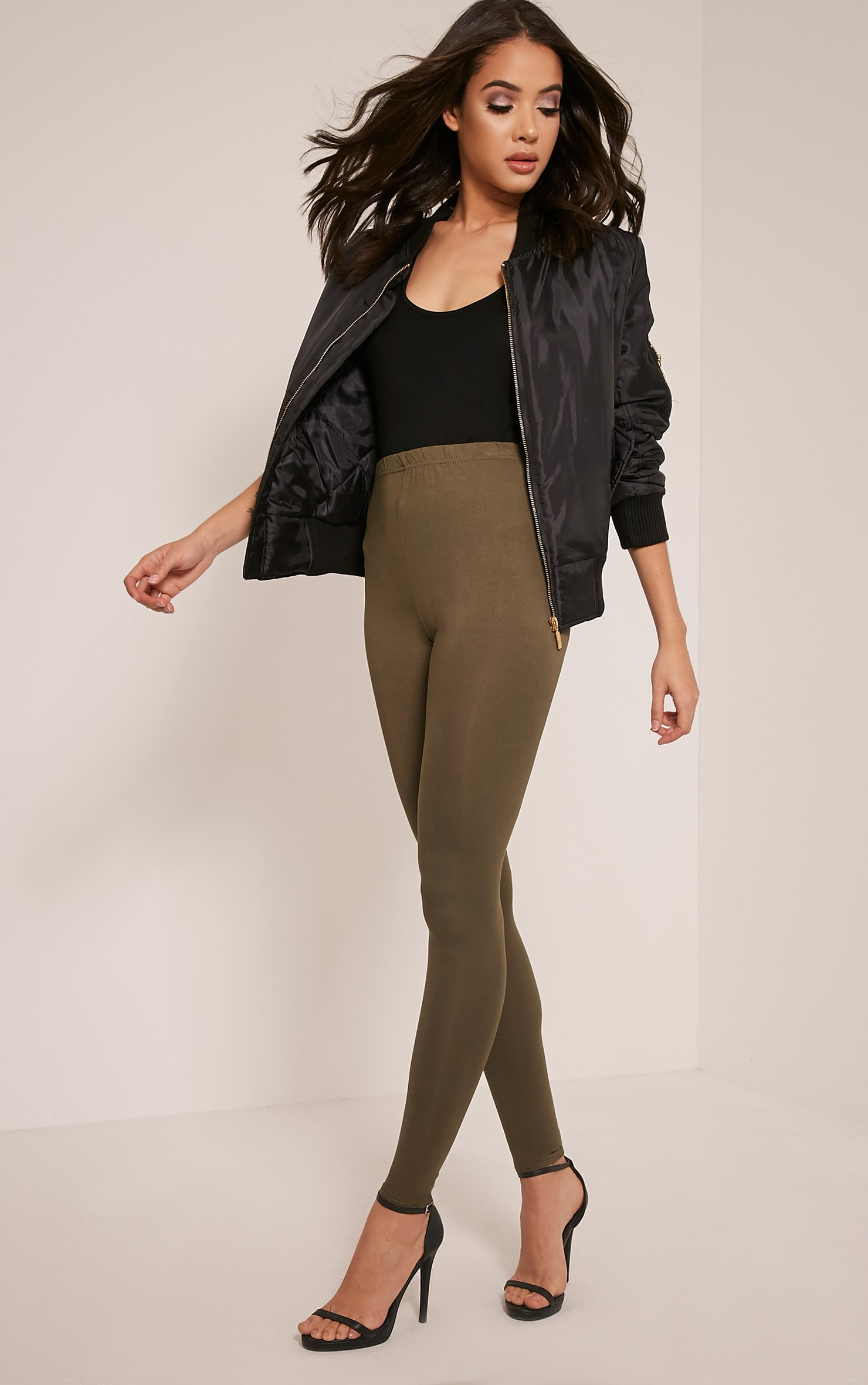 Basic Khaki Jersey Leggings 1