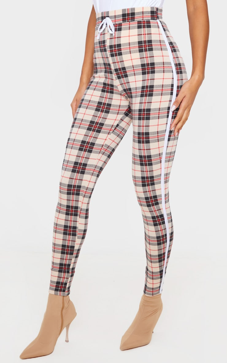 Stone Contrast Binding Check Tie Waist Detail Legging 2