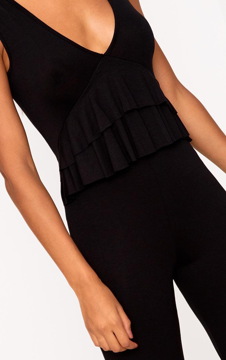 Black Frill Front Culotte Jumpsuit 5