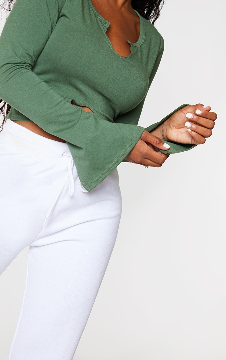 Shape Khaki Cotton Split Detail Cut Out Long Sleeve Top 4