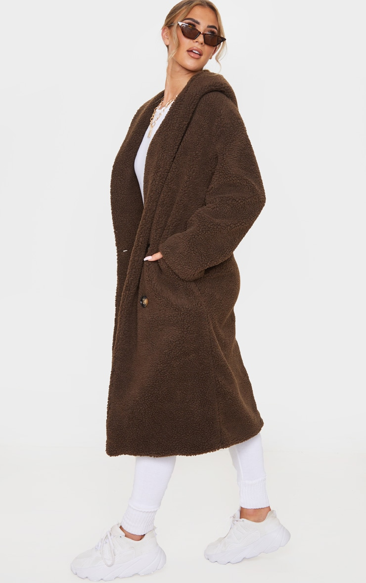 Chocolate Brown Borg Hooded Midi Coat 4