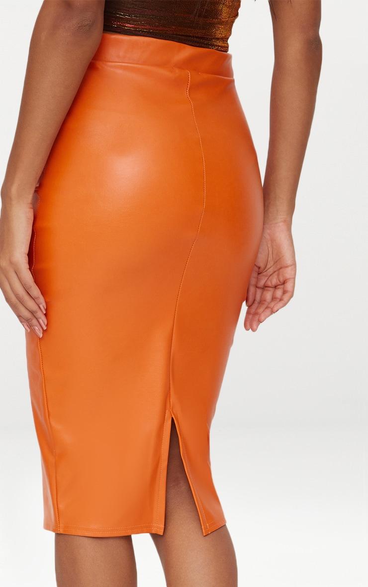 Orange Faux Leather Panel Midi Skirt  5