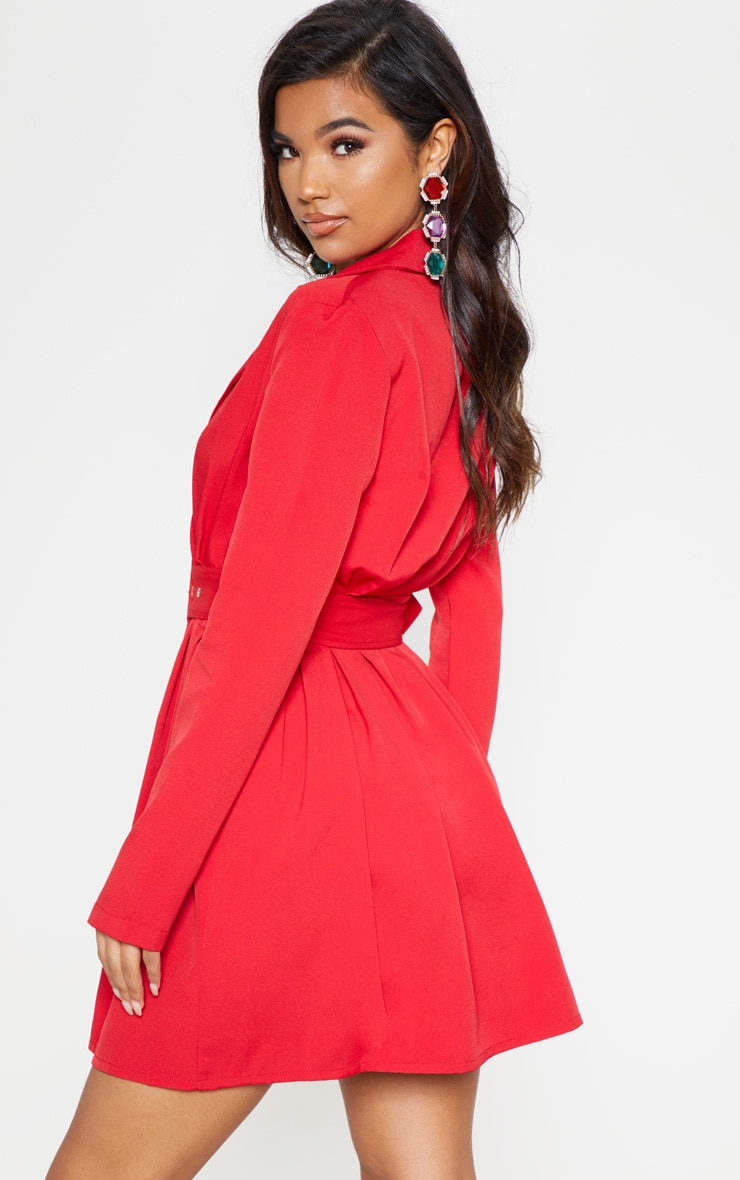 Red Belt Detail Blazer Dress 3