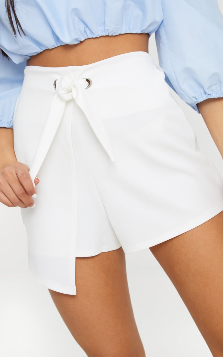 White Tie Front Wrap Short 6