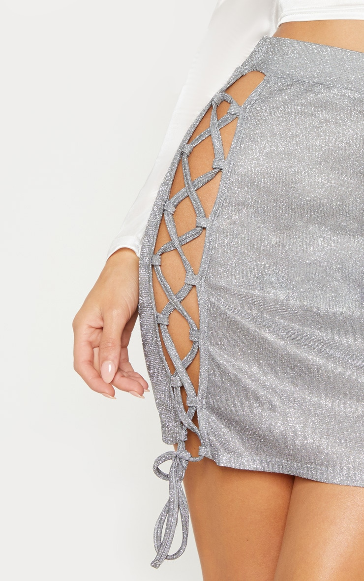 Silver Textured Glitter Lace Up Mini Skirt 6