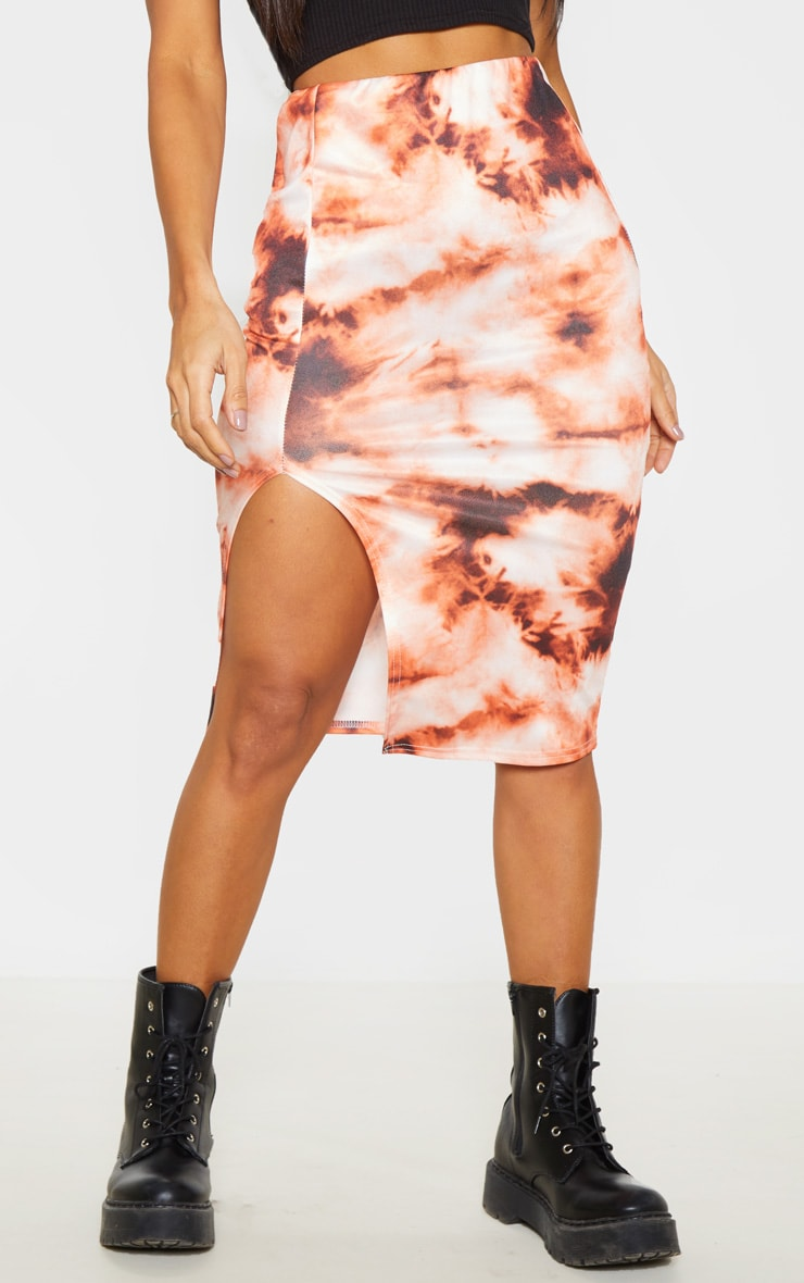 Orange Tie Dye Split Front Midi Skirt  2
