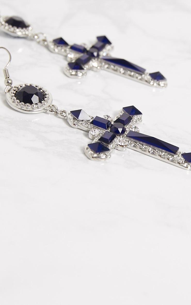 Midnight Blue Gem Cross Earrings 4