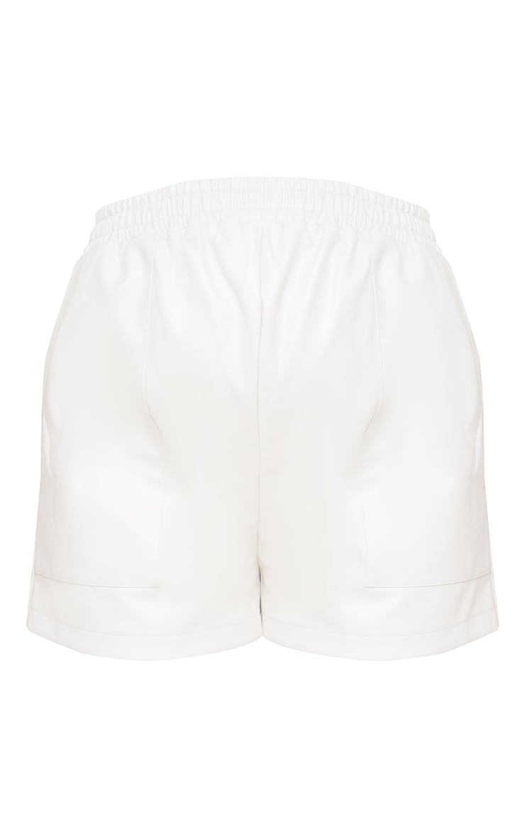 Maternity Cream Faux Leather Pocket Detail Shorts 6