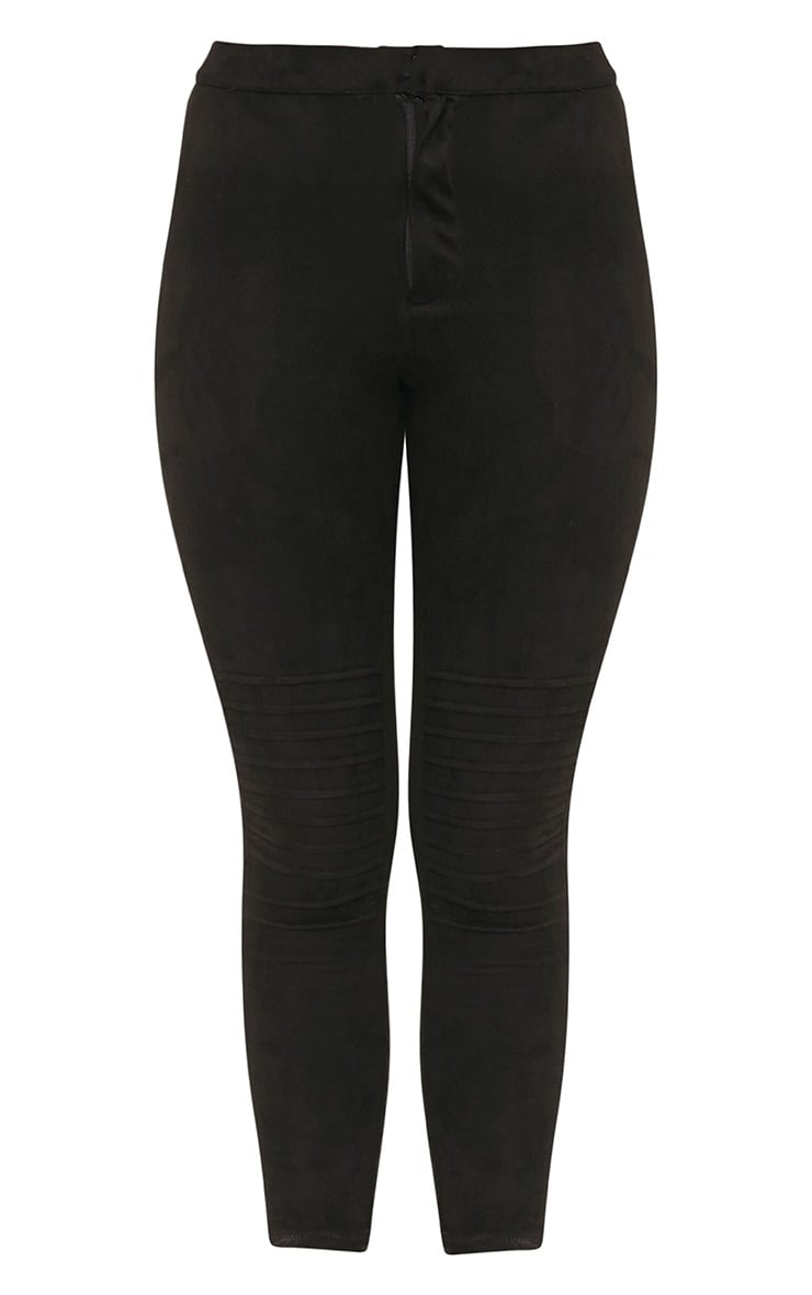 Kristy Black Faux Suede Knee Panel Cropped Trousers 3
