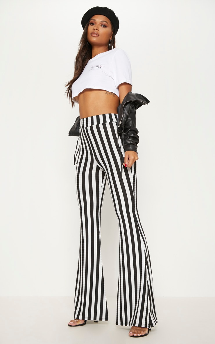 Black Rib Stripe Flare Trouser 1