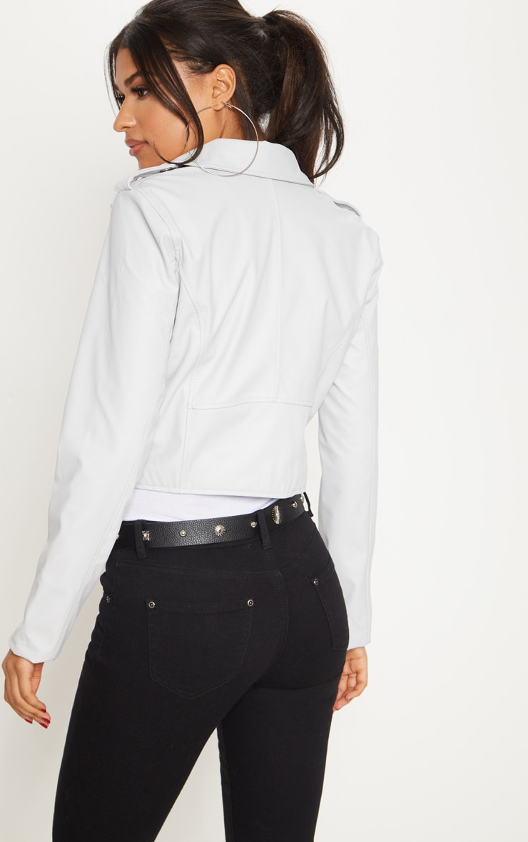 Grey  PU Biker Jacket With Zips 2