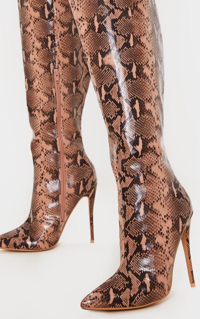 Brown Snake Point Toe Stiletto Knee High Boot 3