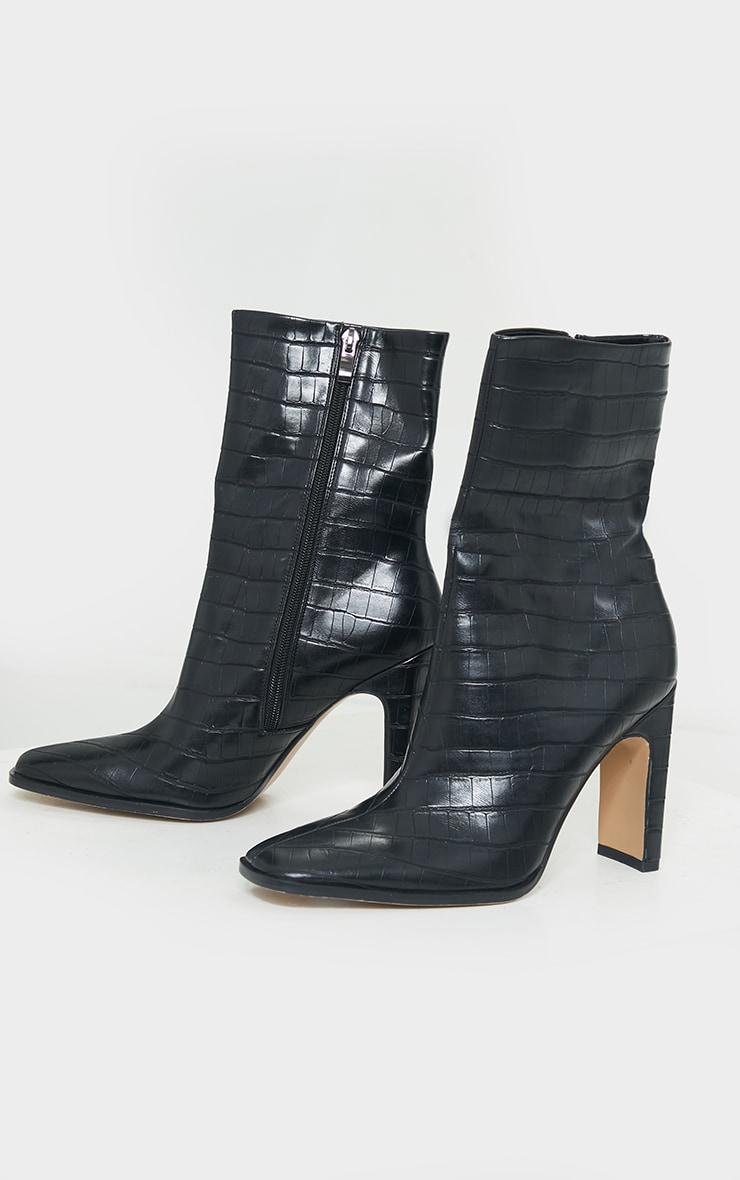 Black PU Snake Flat Heeled Ankle Boots 3